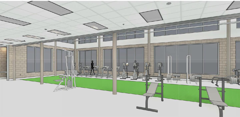 berrien springs arts athletics center fitness room rendering