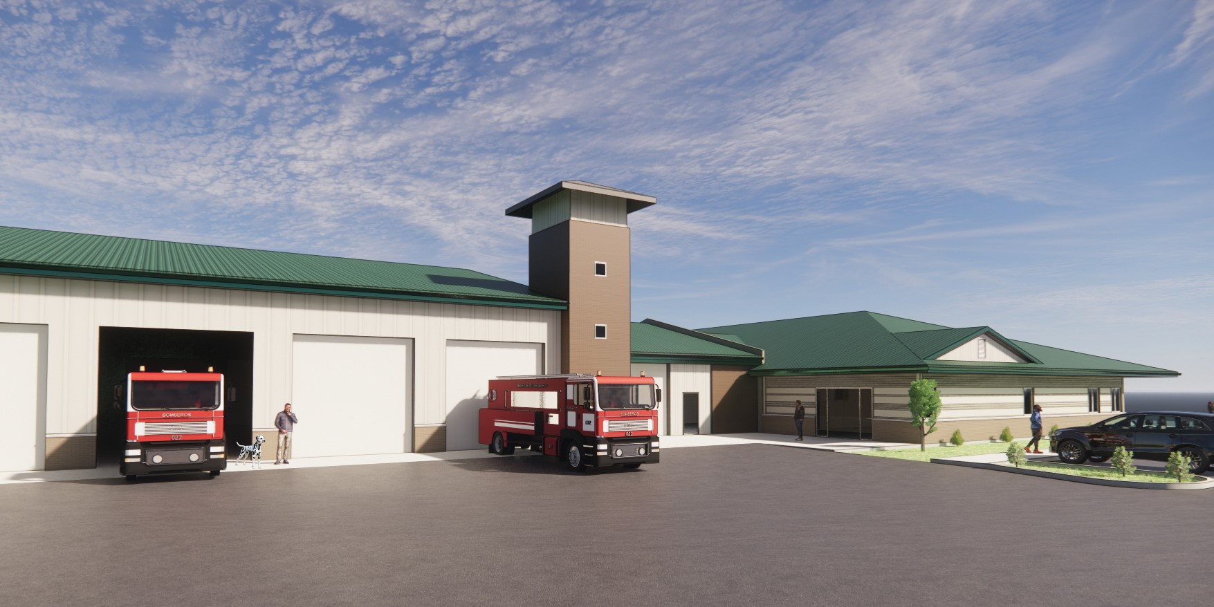Cleveland Fire Station 3D Rendering Fire Trucks