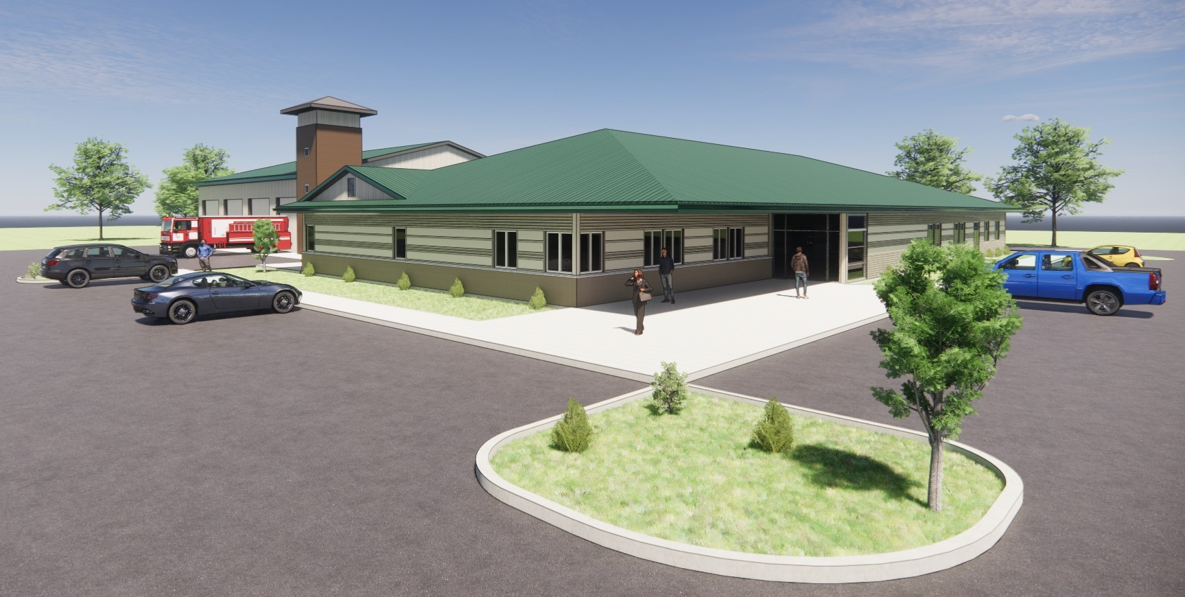 Cleveland Fire Station 3D Rendering Front
